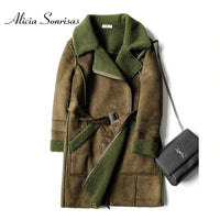 Women's Winter Long Faux Sheep skin Coat 2020