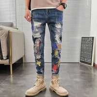 Style Fashion Men Jeans Embroidery Patch Designer Ripped Jeans Stretch Pencil Pants Elastic