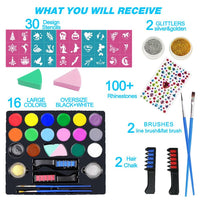 16 Color Face Paint Kit for Kids Adults with 30 Stencils 2 Glitter Brushes Hair Chalk 2 Sponges Body