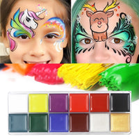 12 Colors Flash Tattoo Face Body Paint Oil Painting Art use in Halloween Party