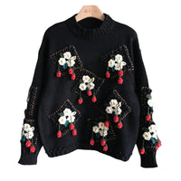 Luxury Winter Runway Sweater Women Elegant Hook flowers Strawberries Knitted Tops 2020