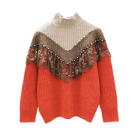 Mixed Color Autumn Winter Women Pullovers Bead Long Sleeve Knitted Sweater 2020