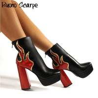 Platform Fashion Leather High Heel Boots For Women