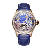 Women Lady Automatic Meachanical Wristwatches Watch With Leather Strap