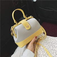 panelled patchwork leather bags women small doctor bag women handbag purse tote bag frame lock shoulder crossbody bags for women
