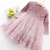 Sleeves lace Mesh Kids Dresses For Girl Autumn Clothing Princess Party Dress