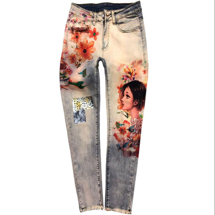 plus size 25-33!3D Stretchy Flowers Fashion Women Colorful Painted Floral Jeans Sexy Female Streetwear Denim Skinny Pencil Pants