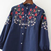 Embroidery Blouse Shirt Cotton Linen Women Blouses Femininas Embroidered Tops