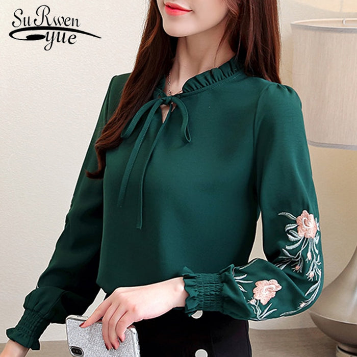 plus size women tops floral embroidery chiffon blouse shirt fashion womens tops