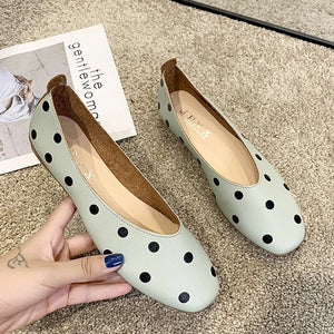 polka dot square toe shallow women flats shoes soft pu leather lazy slip-on loafers new casual soft bottom moccasins cheap shoes