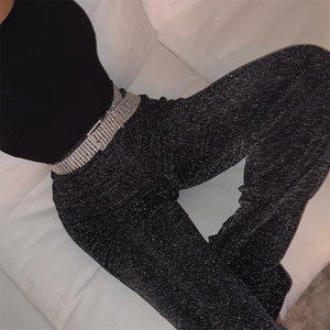 women pants solid glitter sparkle bling trousers 2019 autumn winter fashion office lady black wide leg pants