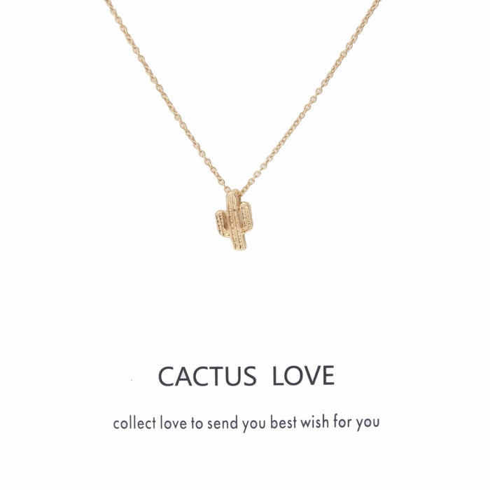 Wish Card Fashion Cactus Pendant Necklace Love Choker Collier Links Chains