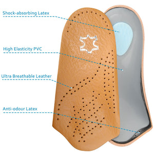 Elino Half arch support orthopedic insoles flat foot correct 3/4 length orthotic
