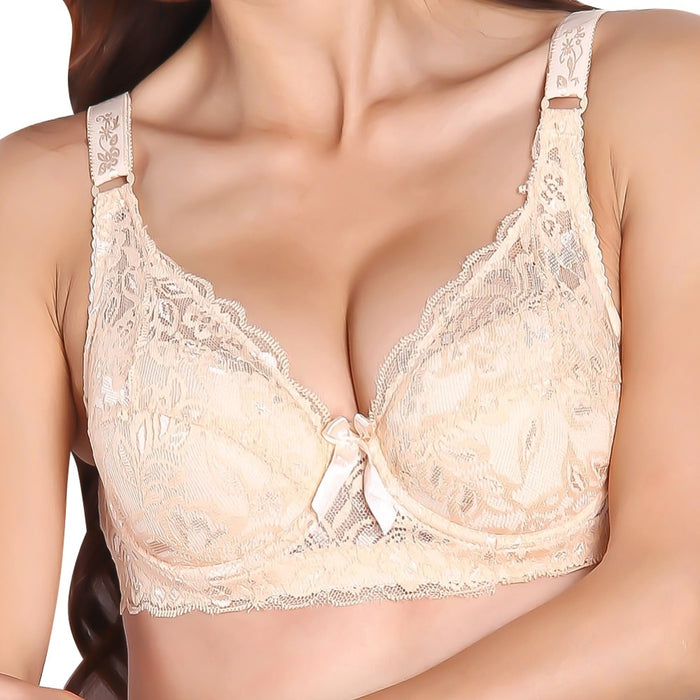 Women Sexy Underwear Brand Lace Minimizer Padded Lace Sheer Push Up Bra 34 Cup