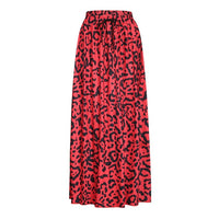 SAGACE Skirts Womens Leopard Print Long skirt casual beach style Drawstring Pleated