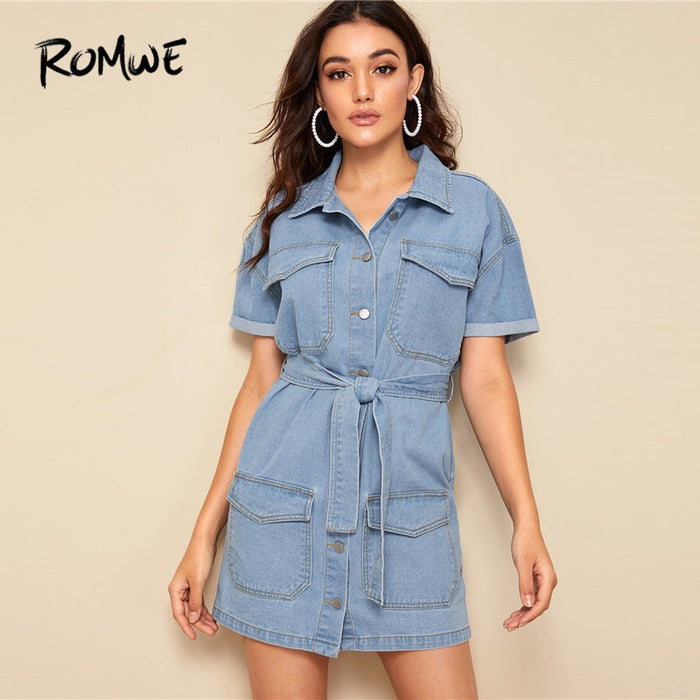 ROMWE Blue Short Sleeve Contrast Stitch Shirt Belted Mini Denim Dress Women