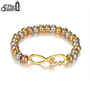 Effie Queen Fashion 316L Stainless Steel Charm Bracelets Love Jewelry Infinite