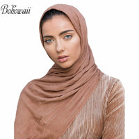 BOHOWAII Classic Solid Color Jersey Hijab Scarf Shawl Breathable Soft Islamic Muslim Hijabs Long Big Head Scarves