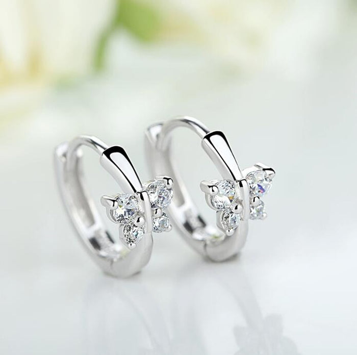 Baby Princess 925 Silver Butterfly Zircon Small Hoop Earrings For Child Girls