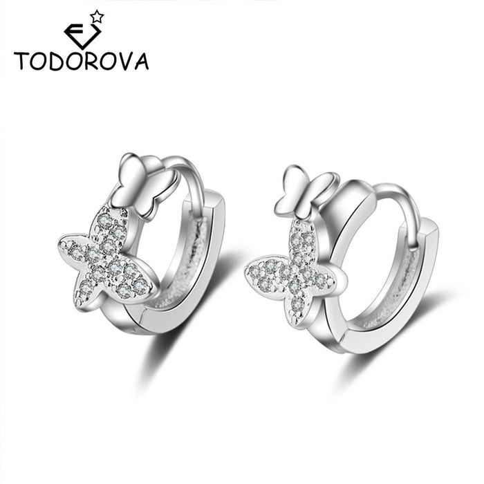 Todorova  Double Butterfly Zircon Small Hoop Earrings for Baby Girls Cute