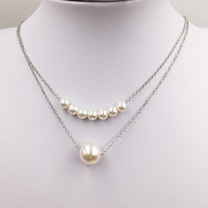 Simulated Pearl Necklaces Pendants For Women Gold Silver Color Long Chain Female