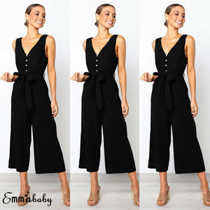 2019 Women Sexy Summer Sleeveless Single-breasted Jumpsuit Long Wide