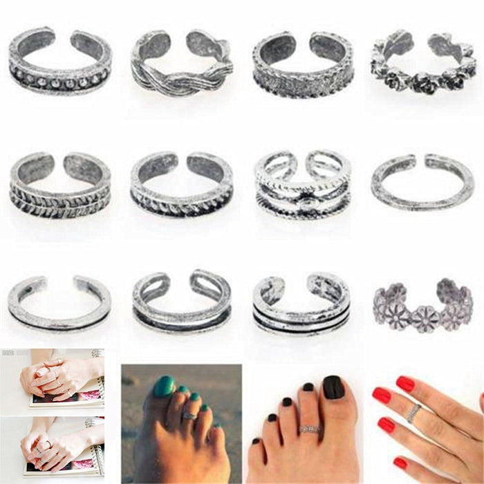 12PCs/set Women Lady Unique Adjustable Opening Finger Ring Retro Carved Toe Ring Foot Beach Foot Jewelry