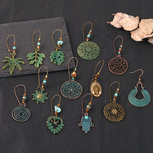 Copper green leaf Ethnic dangle Earrings Boho Round Hollow drop Earrings Women