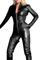 Lingerie Wetlook PVC Latex Bodysuit for Women Double Zipper