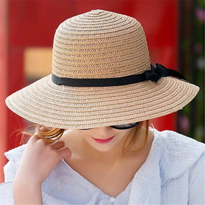Floppy Foldable Ladies Women Straw Beach Sun Summer Hat Beige Wide Brim viseras de mujer summer viseira feminina zonnehoed dames