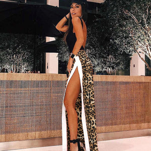 Leopard Print Long Flare Pants Women Side Patchwork Panelled Open Boot Cut Trousers 2018 High Waist Pants Streetwear