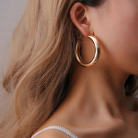 SexeMara New Fashion Gold Color Circle Creole Earrings Stainless Steel Big