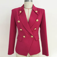 Designer Blazer Women's Collar Buttons Double Breasted Metal Buttons Blazer Outer Wear