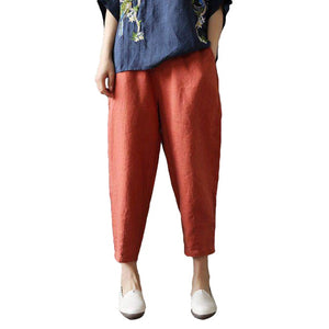 Women Plus Size Solid Color Casual Lady Elastic Waist Ninth Pants Loose Harem Trousers Gift