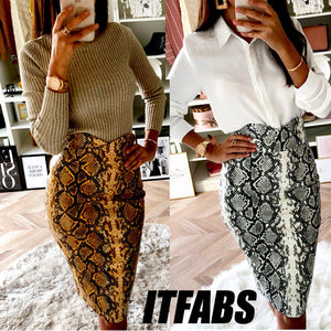 snakeskin sexy bodycon Vintage skirt Autumn Knee-Length women fashion high waist mini pencil snake skin skirts