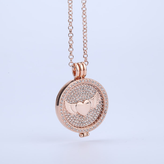 new rose gold angel wings 35mm coin holder frame necklace pendant floral crystal