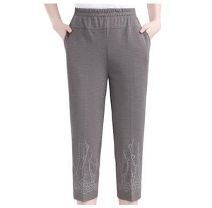 Middle-aged Women Straight Pants Fashion Casual Elastic waist Loose Pants Large size Grandma Female Summer Solid Nine pants 5XL
