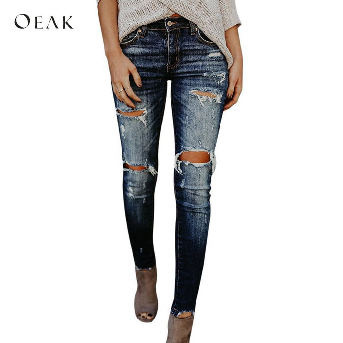 OEAK 2018 Fashion Women Denim  Jeans Pencil Pants Casual Holes Ripped Long Trousers Vintage Stretch Slim Fit Pantalones