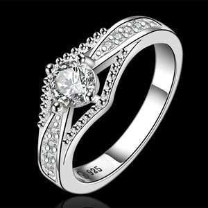 Silver color jewelry trendy noble fashion beautiful zircon crystal Ring For women