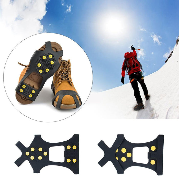 10-Studs Anti-Slip Ice Snow Grips Shoe Boot Traction Cleat Spikes Crampon Ice