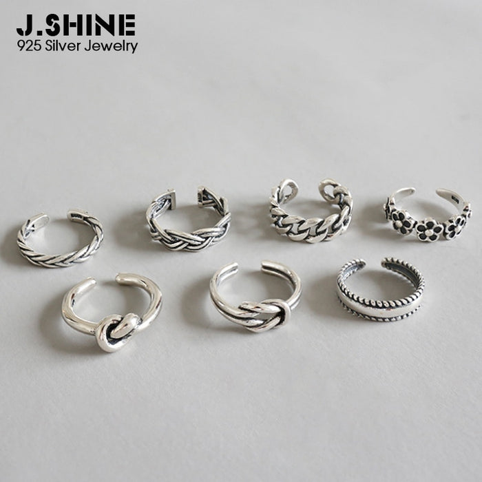 JShine Women's Rings Open Adjustable 925 Sterling Silver Midi Finger Knuckle Ring Retro Flower Toe Chain Ring Beach Foot Jewelry
