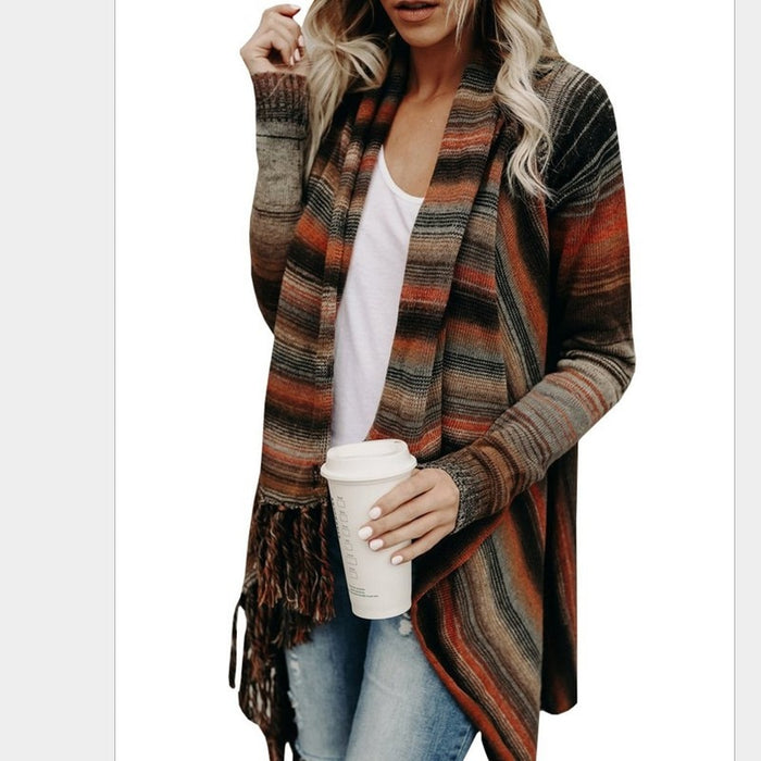 Autumn Winter Tassels Cardigan Women Ponchoes Capes Sweater Casual Cape Sweaters Pullovers Tops Plus Size