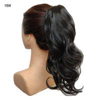 "jeedou Short Wavy Ponytail Hair Extensions Claw Ponytails Synthetic 16"" 40cm 90g Black Red Piano Color Women's Hairpieces"
