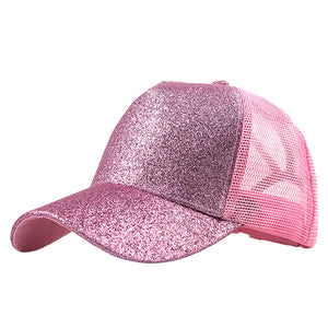 Glitter Ponytail Baseball Cap Women Snapback Dad Hat Mesh Trucker Caps Messy Bun Summer Hat Female Adjustable Hip Hop Hats #P4