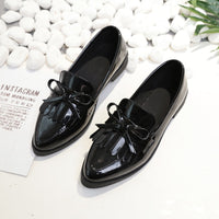 2019 Brand Shoes Woman Casual Tassel Bow Pointed Toe Black Oxford Shoes