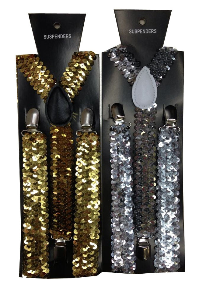 2019 New Fashion Women Adjustable Clip-on Y-back Black Gold Sliver Metallic Shinny Sequin Suspenders For Party