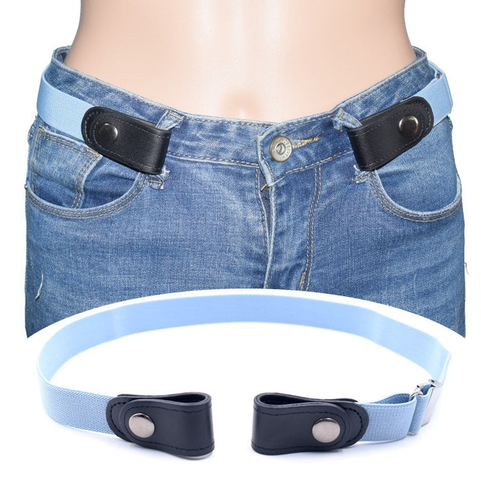 OLOME 1PCS No Buckle Free Easy Belts Women Men Stretch Elastic Waist Belt