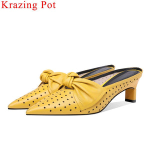 luxury sheep leather butterfly-knot decoration med heels slip on women pumps