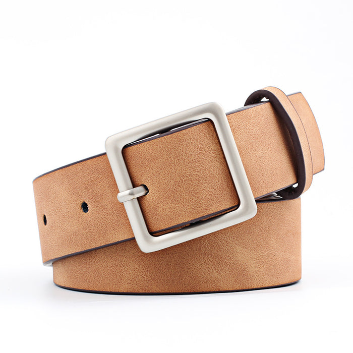 Winfox Vintage Brown Black White Wide PU Leather Belt Square Alloy Pin Buckle