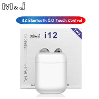 M&J i12 tws Touch control Wireless Bluetooth 5.0 Earphones 3D super bass Headphones